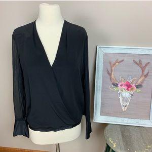 RAG & BONE silk semi sheer faux wrap blouse